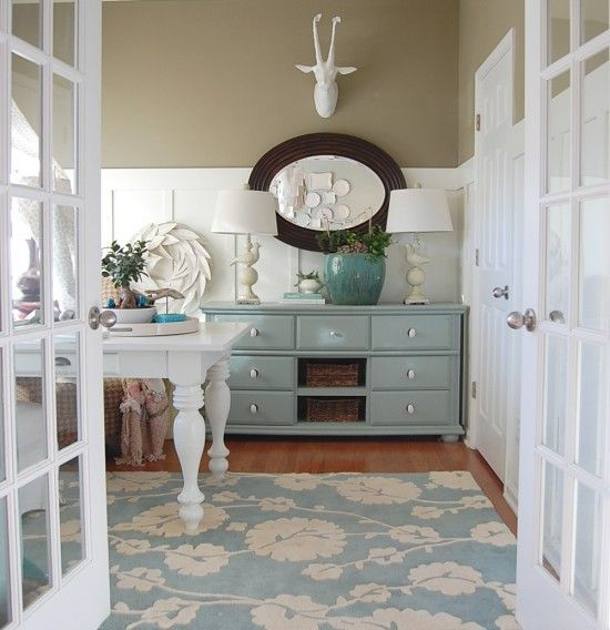 Color blocking: Wall Colors, Blue Accent, Decor Ideas, Offices, French Doors, Dressers, Colors Schemes, House, Rugs
