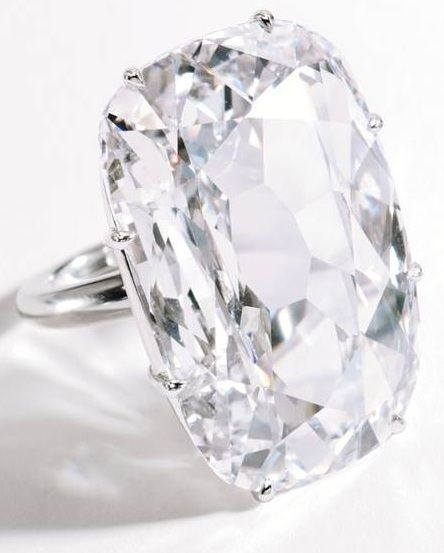 The Light of Golconda ring, a rare 33.03-carat diamond mounted in platinum. It was mined from the ancient kingdom of Golconda (in today's Indian state of Hyderabad), a place that once attracted rich princes, traders and adventurers to its bazaars and gem markets. It is this ancient background that gives this diamond an extra level of wonderment, and certainly contributes to its pre-sale estimate of USD 7 million. Source.