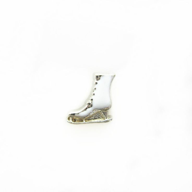Hot selling 100pcs/lot white shoe ice skates floating charms living glass memory floating lockets