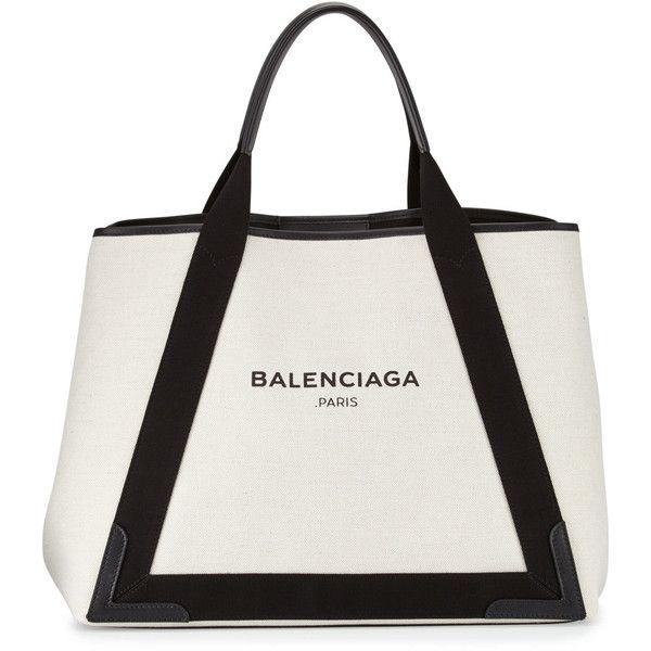 Balenciaga Cabas Medium Canvas Logo Tote Bag (68,845 INR) ❤ liked on Polyvore featuring bags, handbags, tote bags, balenciaga tote, white handbags, canvas tote, white purse and canvas handbags