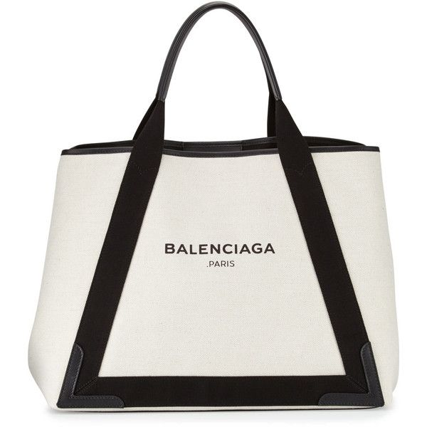 Balenciaga Cabas Medium Canvas Logo Tote Bag (68,845 INR) ❤ liked on Polyvore featuring bags, handbags, tote bags, balenciaga tote, white handbags, canvas tote, white purse and canvas handbags