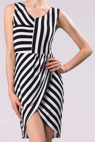 Sexy V-Neck Sleeveless Striped Asymmetrical Women's Dress