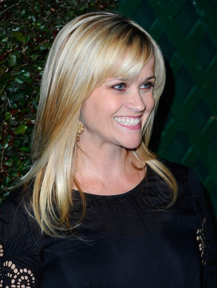 Reese Witherspoon Long Straight Cut with Bangs - Reese Witherspoon Hair - StyleBistro