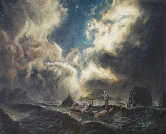 Survivors (2015) 16x20 Oil on Canvas by Daniel Cormier A nautical study in oils. A storm is breaking. Rough waves threaten sailors in long boats as they draw near, their distant vessel lies in distress.