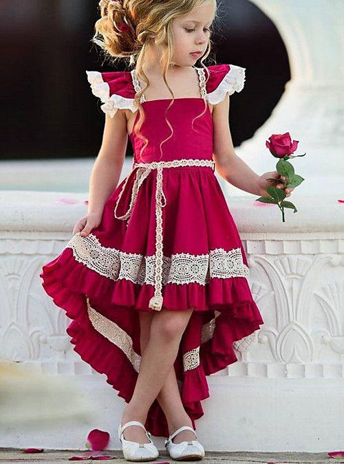 92ca602174577 Kids Girls  Street chic Party Solid Colored Lace Sleeveless Asymmetrical Polyester  Dress Red 2019 - £ 11.2