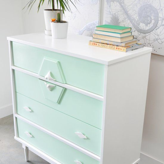 High Quality Painted In Mint Green And White With Decoupage Patterned Drawer Sides.