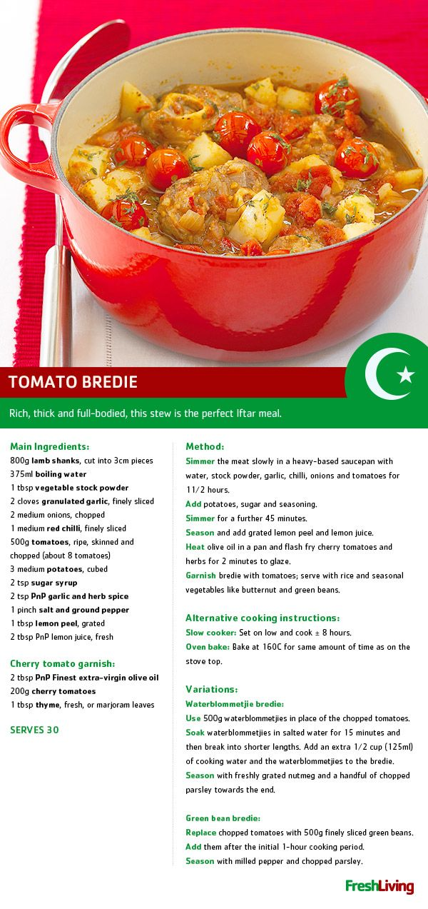 Tomato bredie is the perfect dish for wintery #Ramadaan. Shukran! #dailydish #PnP #freshliving #picknpay
