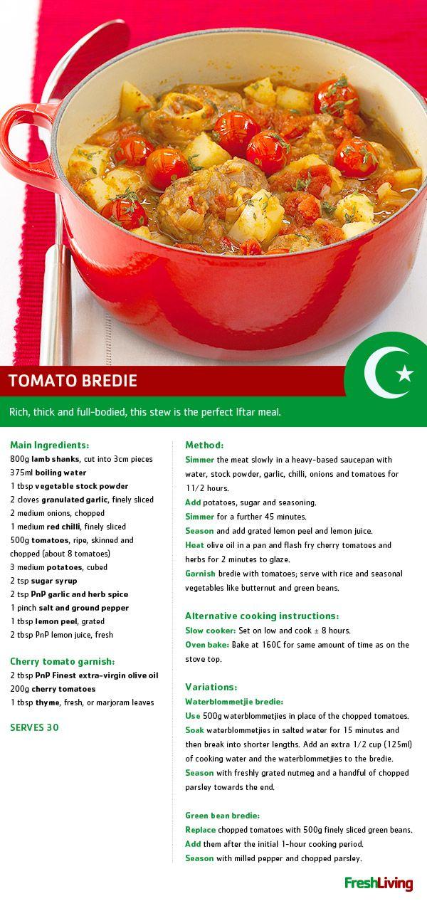 Tomato bredie is the perfect dish for wintery #Ramadaan. Shukran! #dailydish #PnP #freshliving #picknpay