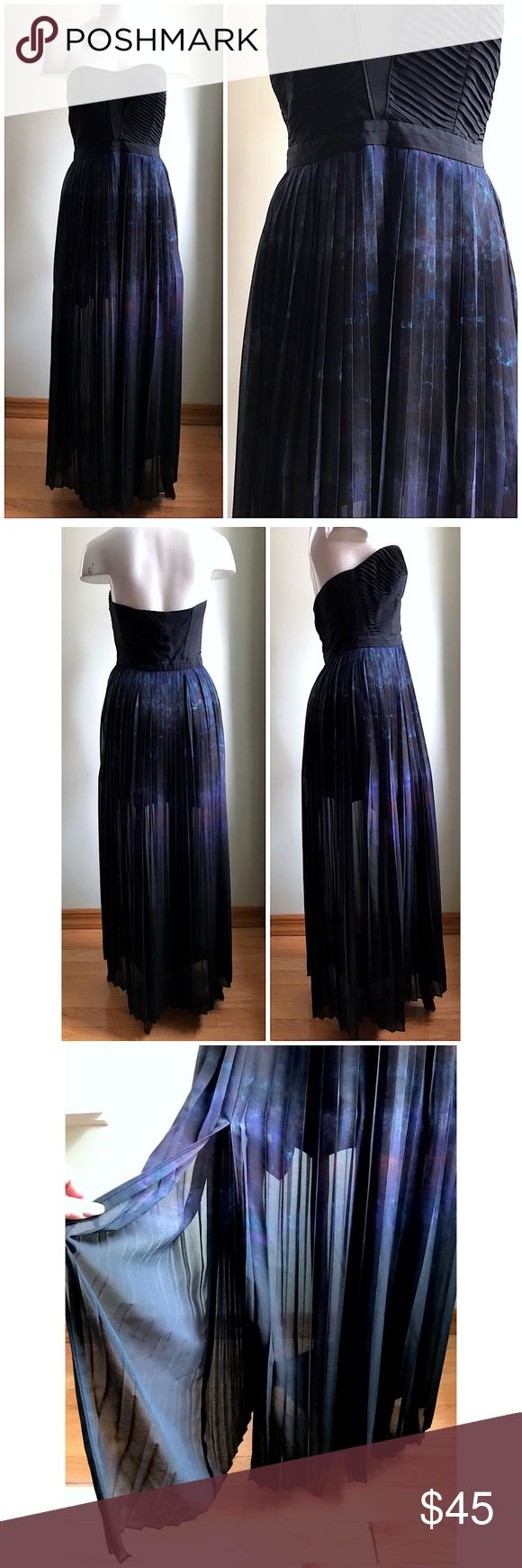 """Urban Outfitters Straples Ombre Pleated Maxi Dress Urban Outfitters Strapless Black Ombre Watercolor Pleated Maxi Dress Sz 6   Brand: Silence + Noise (Urban Outfitters) Size: 6 (Medium) Condition: pre-loved Material: polyester  • maxi dress • pleated bust with slight boning for structure • sweetheart neckline • strapless • side zip closure • lined • watercolor/ombre effect • slits in front on both sides • $119 original retail Measurements laying down: Chest: 15"""" Center length (bust to hem)…"""