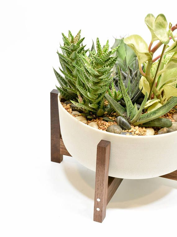 Large Mid Century Modern Planter Bowl With Walnut Stand And