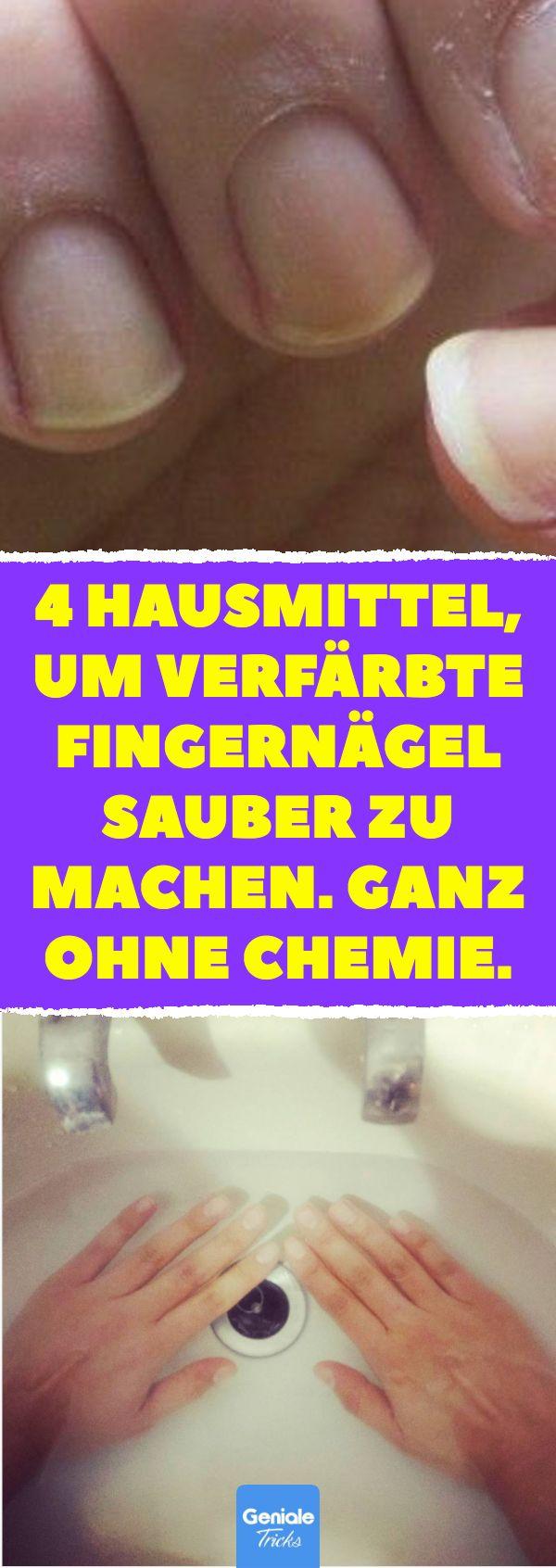 4 Hausmittel, um verfärbte Fingernägel sauber zu machen. Ganz ohne Chemie. 4 H...