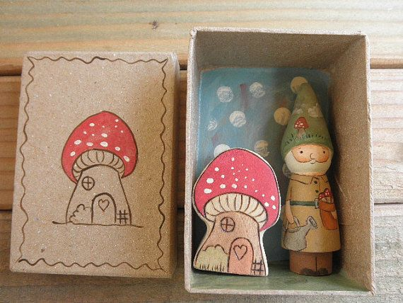 Wood Toy Set-Mini Peg Doll Gnome-Fly Agaric Mushroom Habitat/HOME is WHERE the HEART Is-In Box