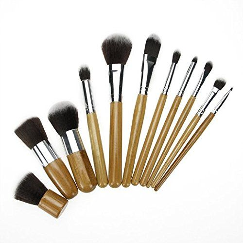 KLAREN Makeup Brush Set Powder Foundation blusher Cosmetic Bamboo Handle with a brush bag 11PCS * Be sure to check out this awesome product.