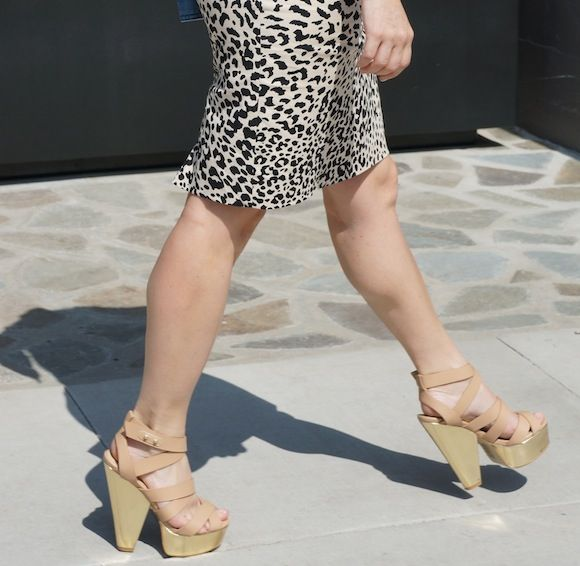 735ac95f52c9c nude shoes from shoe dazzle with floral top and LOFT animal print skirt  #ootd #