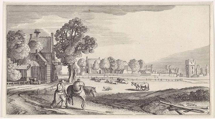 Jan van de Velde (II) | Boer met pakpaard op een landweg, Jan van de Velde (II), 1639 - 1641 | Een boer met een pakpaard op een pad bij een dorp. In het midden een weide met vee en rechts op de achtergrond een ruïne (van het Huis ter Kleef te Haarlem?). Achttiende prent van een serie met 36 prenten van landschappen, verdeeld over zes delen.