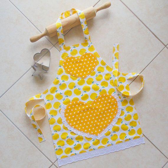 Kids/Toddlers Apron Yellow, Girls Kitchen Craft Art Play