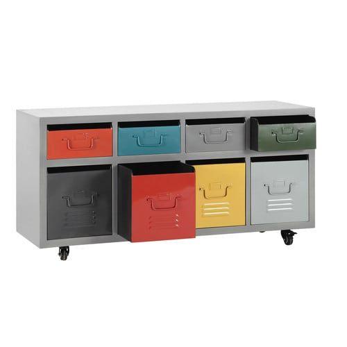 Marvelous Cabinet roulettes tiroirs en m tal multicolore L cm