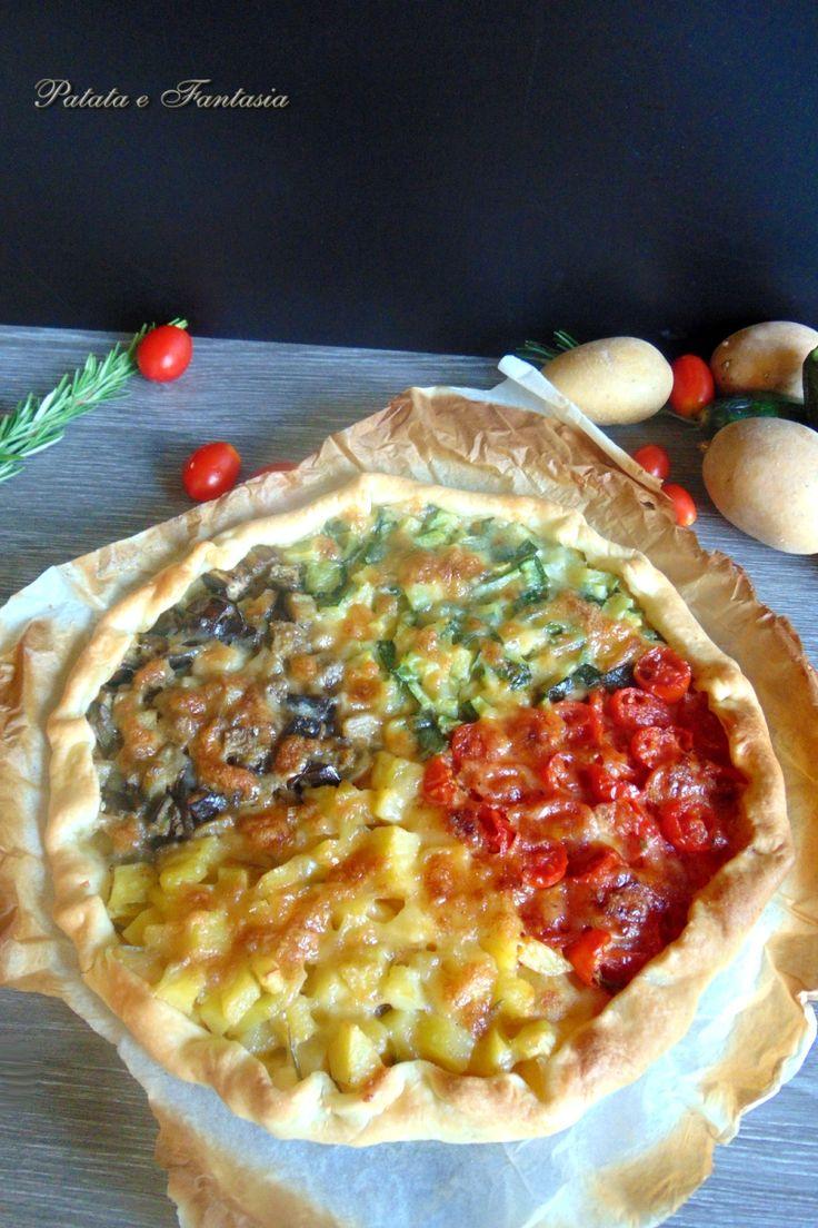 TORTA SALATA CON  VERDURE #ricettavegetariana #tortasalata #ricettafacile #antipasti #ricetteperbambini #ricettepertutti #ricettasfiziosa #ricettaconverdure