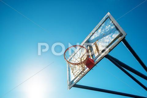 Plexiglass Street Basketball Board With Hoop On Outdoor Court Premium Photo 60372779 Street Basketball Outdoor Plexiglass