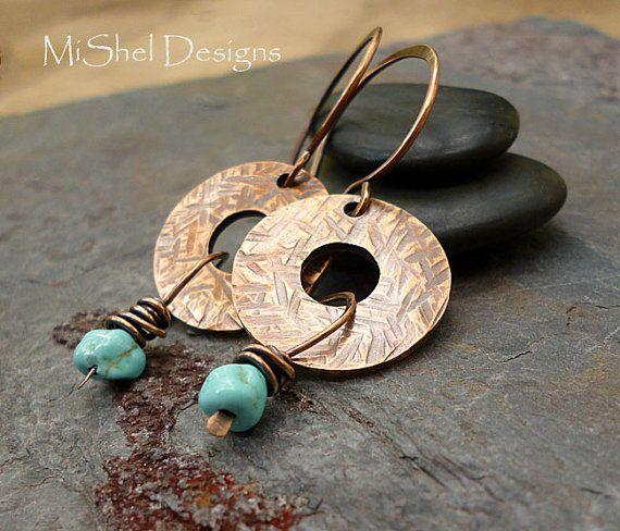 Sleeping Beauty Turquoise and Copper Hammered Disk Earrings by MiShel Designs. $30.00 - available on Etsy