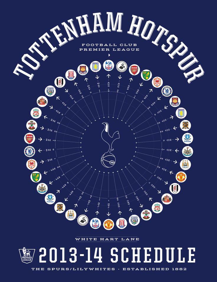 Tottenham Hotspur 2013-14 Premier League Schedule #coys #thfc