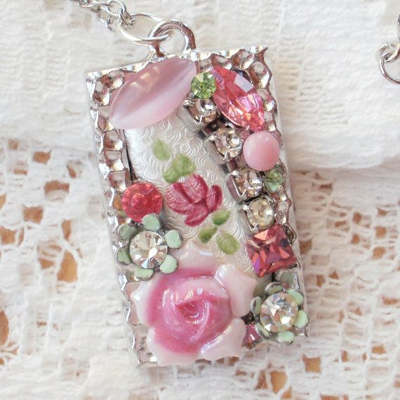 pretty in pink pendant great way to mix smaller pieces/broken pieces