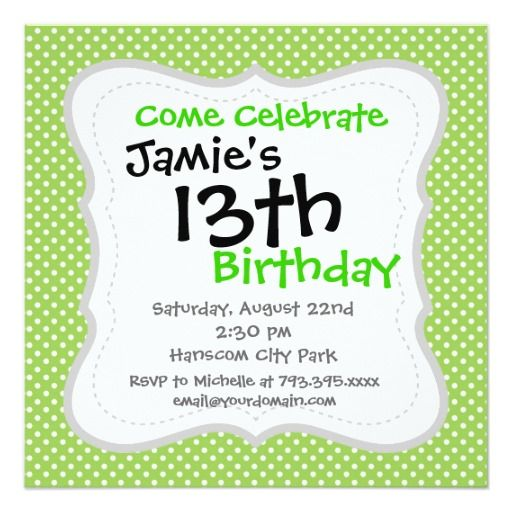 477 best 22nd birthday party invitations images on pinterest fun summer lime green and white polka dot pattern card stopboris Choice Image