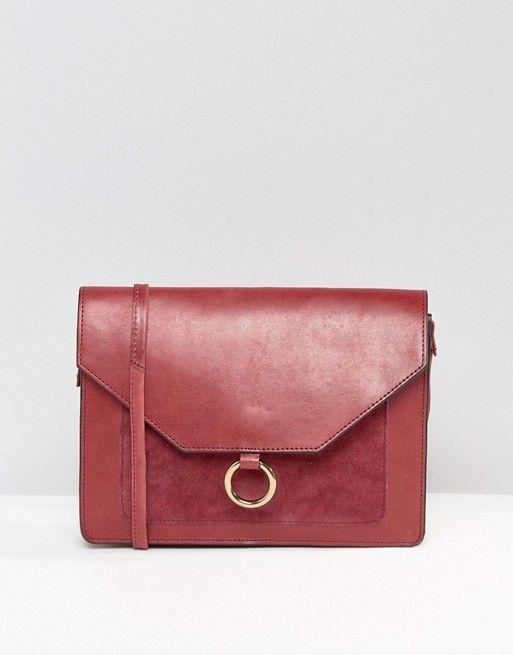 ASOS | ASOS Vintage Leather Cross Body Bag With Metal Ring Detail