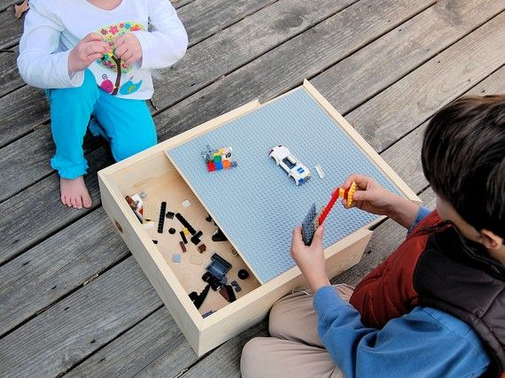 wood carrying case for Legos