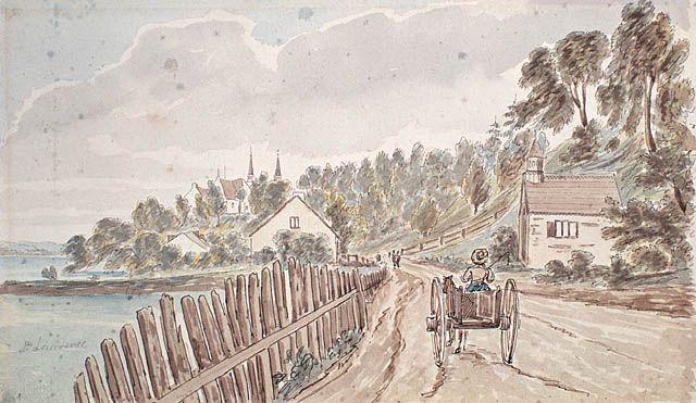 """<div title='Images, cartes ou graphiques libres de droits pour un usage éducatif et non commercial. Merci de mentionner le nom de l'auteur et la source.'class='image-licence'><span id='vert-libre'></span></div>[Le Chemin du roi en 1829] © James Pattison Cockburn / <a href=""""http://www.collectionscanada.ca/index-f.html"""" target=""""_blank"""">BIBLIOTHÈQUE ET ARCHIVES Canada</a> / C-040026"""