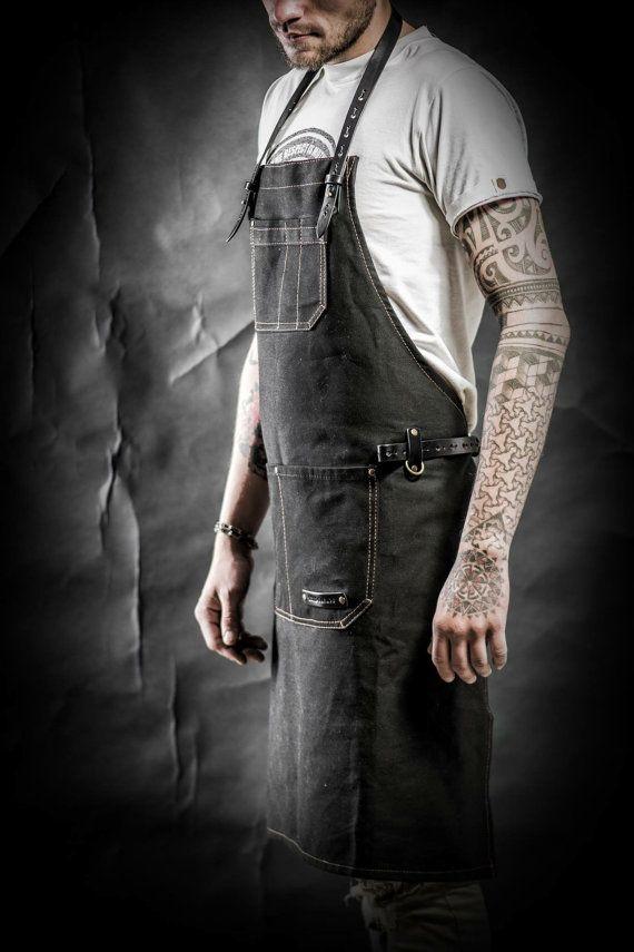 Waxed canvas apron Men's apron Work apron by KrukGarageAtelier
