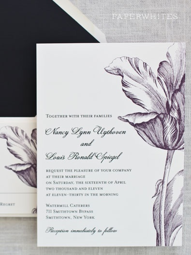 Our tulip wedding invitation is our most popular choice for a garden wedding; with a lush and fun tulip flower our tulip wedding invitation has become a bride favorite! Our tulip invitation looks amazing in any color!