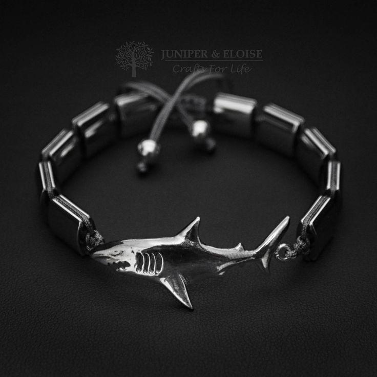 Shark Bracelet, Mens Bracelet, 925 Silver Shark, Jewelry For Men and Women, Unisex Bracelet, Braccialetto, Pulsera, Armband by JuniperandEloise on Etsy