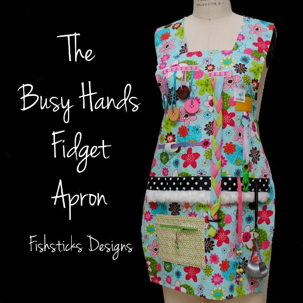 Free Pattern!!!!! The Fidget Aprons designed to be used by those who suffer from Alzheimer's Disease and other forms of dementia. The trinkets, trims and activities attached to the apron provide a way for patients to keep their often restless fingers busy. This can provide much-needed relief for both loved ones and their caregivers.