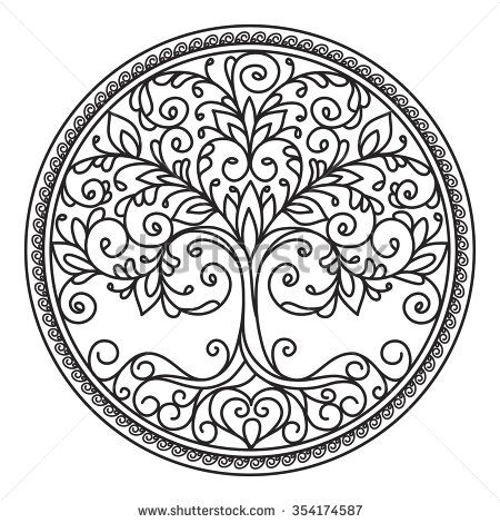 decor element, vector, black and white illustration, mandala, tree, circle, heart, leaves - stock vector