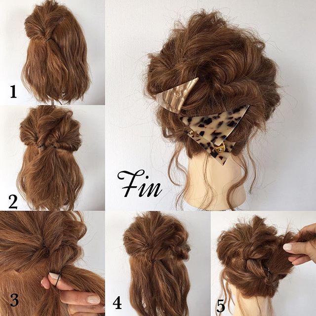 ミディアムのヘアアレンジです 【アレンジプロセス】 ①はち上の髪をざっくり斜めに半分にしてクルリンパします。 ②はち上の残り半分もクルリンパします。 ③②の髪を①の結び目に捻りながら被せていき、裏側の見えない部分でゴムに通します。 ④このようにゴムが見えないような状態になります。 ⑤残りの髪を逆クルリンパ(下から上へクルリンパ)します。 Fin→⑤で上に出てきた毛先をくるんと捻ってバレッタで留めて完成❤️ ※分け目など見えないように毛束を引き出して崩して、無造作な感じをだし、後れ毛は波ウェーブにすると更に無造作な感じがでやすいです 三角バレッタ @san_official 大きめバレッタ @rische_accessory #簡単アレンジ#セルフアレンジ#波ウェーブ#クルリンパ#お洒落#アレンジ#お団子ヘアー#ミディアム#ヘアアレンジ#ヘアセット#髪型#ヘアスタイル#ヘアアクセ#三角バレッタ#シェリヘアデザイン#福岡#ママ美容師#beautiful#cute#love#girl#hairarrange#hair#hairset#Fashion#CHERIEhairde...