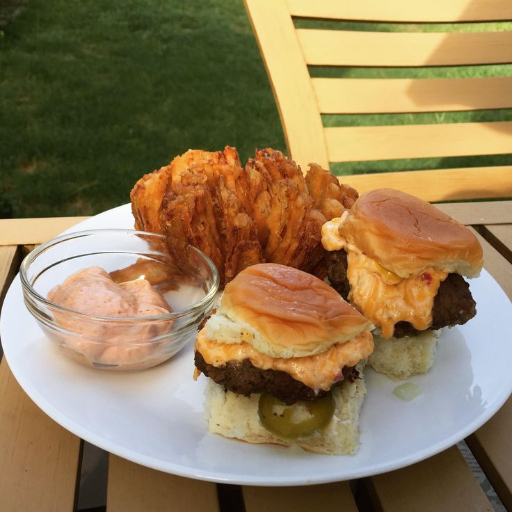 Palmetto Cheese Sliders and a Homemade Bloomin' Onion on the Big Green ...