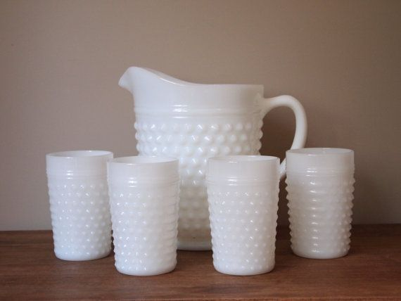 white milk glass pitcher and set of 4 tumblers, hobnail, vintage pitcher set