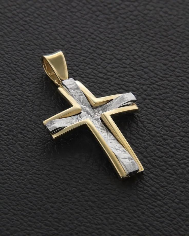 Σταυρός Βάπτισης δυο όψεων Χρυσός & Λευκόχρυσος   eleftheriouonline.gr