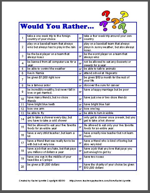 """Would You Rather..."" Questions - great for Cub Scouts. Really gets the boys thinking."