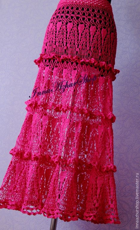 "Купить Юбка ""Каскады"" - фуксия, инна панченко, innaazhurshop, юбка, летняя юбка, нарядная юка"
