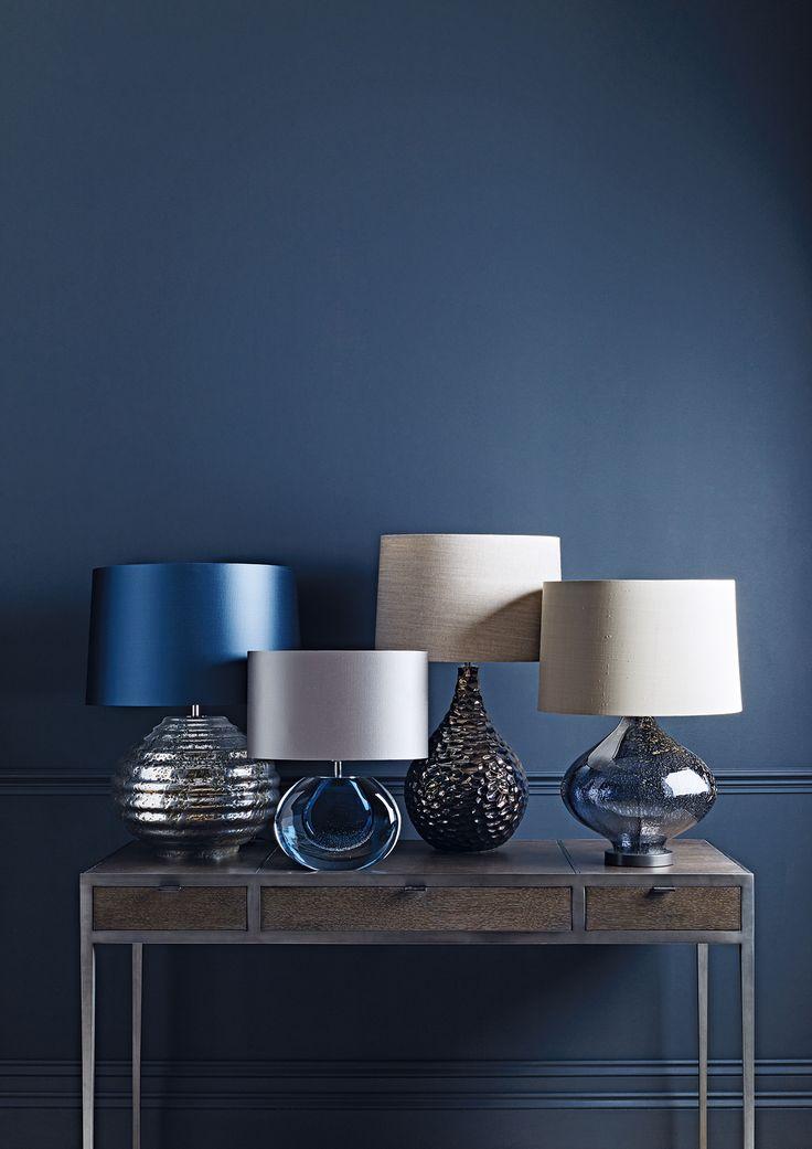 Zoffany table lamps - Colmea silver, Gaia Velevt Blue, Novella Bronze and Fiametta Smoke Blue.