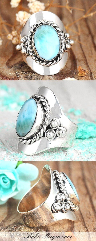 Larimar Bohomagic Bohojewelry Bohofashion Silverrings Silverringsjewelry Sterlingsilver G Unique Silver Rings Silver Rings Silver Rings Simple