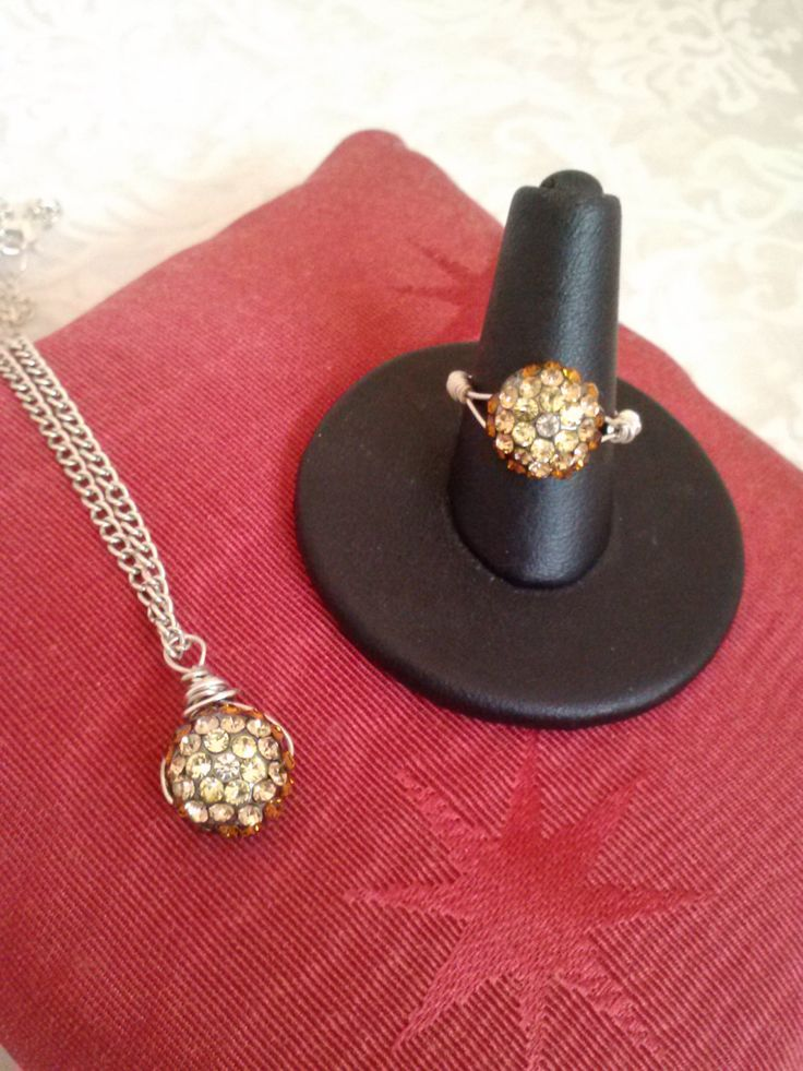 Amber Crystal Pendant Necklace And Ring Jewelry Set - Gifts For Her - Holiday Gifts - Birthday ...