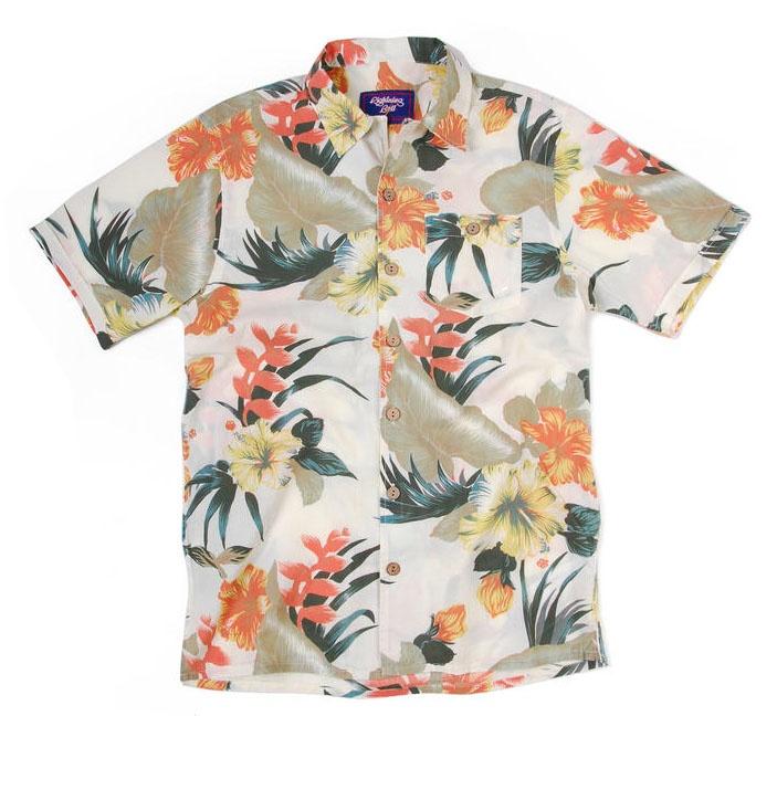 Blomstrete Hawaiiskjorte hvit