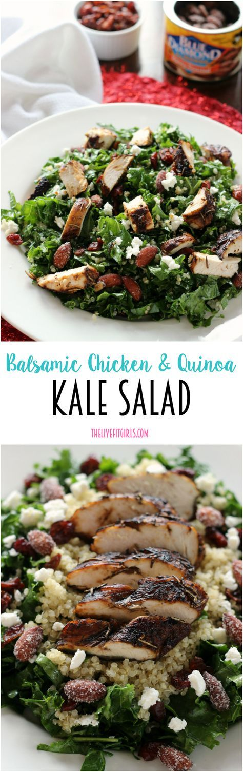 My absolute FAVORITE salad! Balsamic Chicken & Quinoa Kale Salad topped with goat cheese, cranberries, and almonds! @bluediamond #ad #healthy recipe