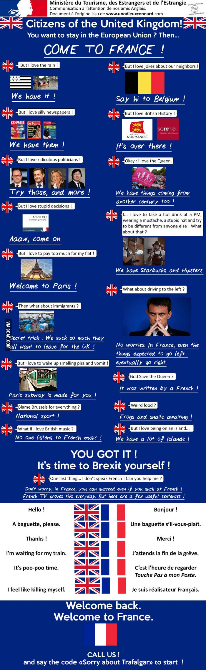 For those who want to stay in Europe but who love britishing... Brexit yourself !(By Un odieux Connard) - 9GAG