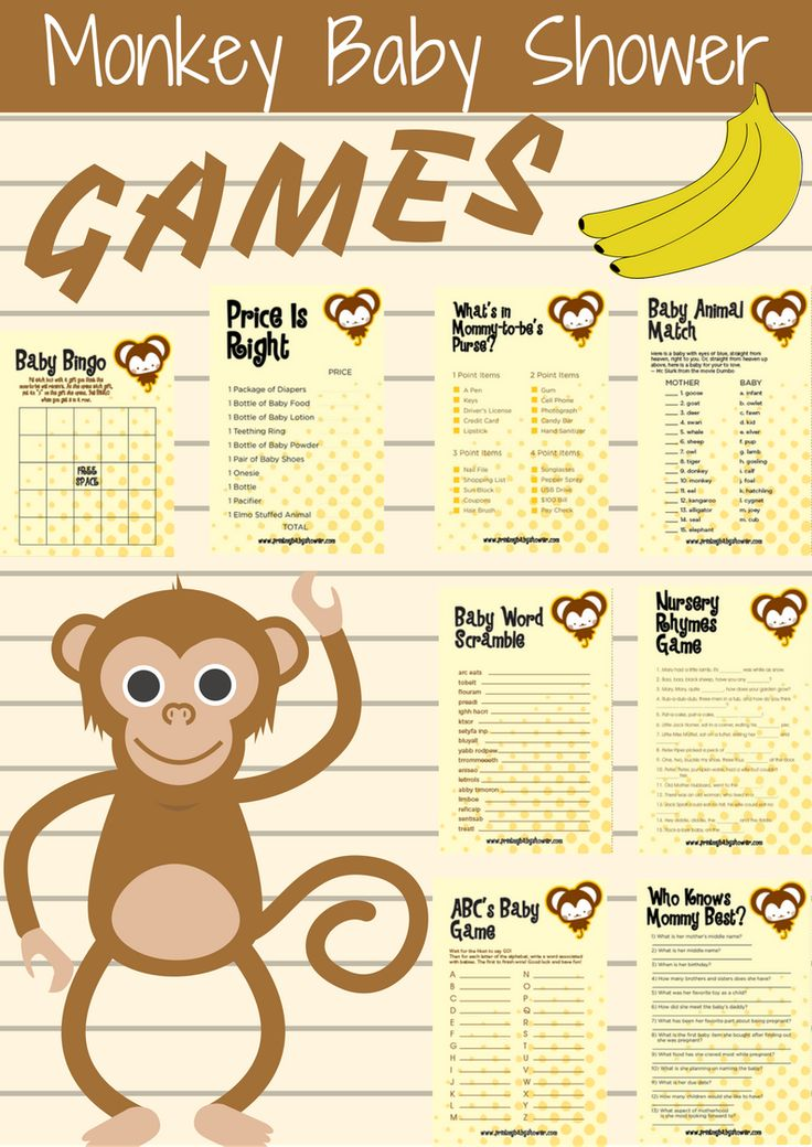 Monkey Baby Shower Games | Monkey Baby Shower Theme is here. This baby shower theme comes with 8 amazing games that you baby shower guests will love.