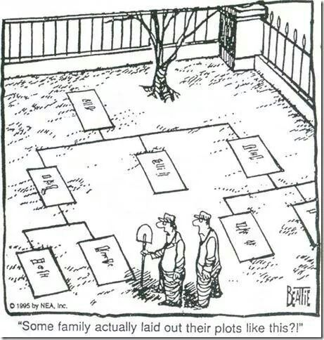 Some family actually laid out their plots like this. (Wouldn't this be great!) Genealogy Humor