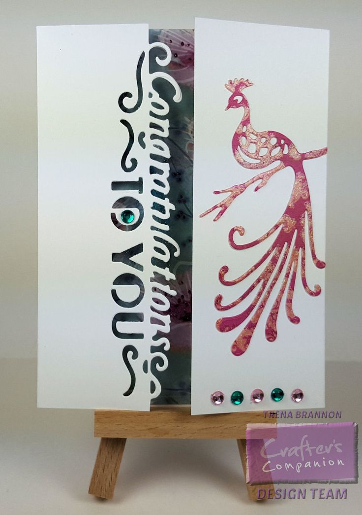 """Trena's Stampin' Headquarters: Congratulations to You! Edge'ables Only Words - Congratulations @CraftersCompUS  Kimono Decorative Metal Dies - Peacock The Ultimate Tool eBosser Kimono Luxury 8"""" x 8"""" Paper Pad Ultra Smooth Premium White Cardstock Collall All Purpose Glue Extra Strong Permanent Tape Runner"""